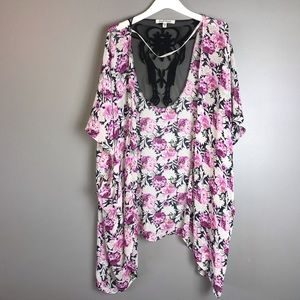 Black Rainn Woman Kimono Size M/L White Black Pink